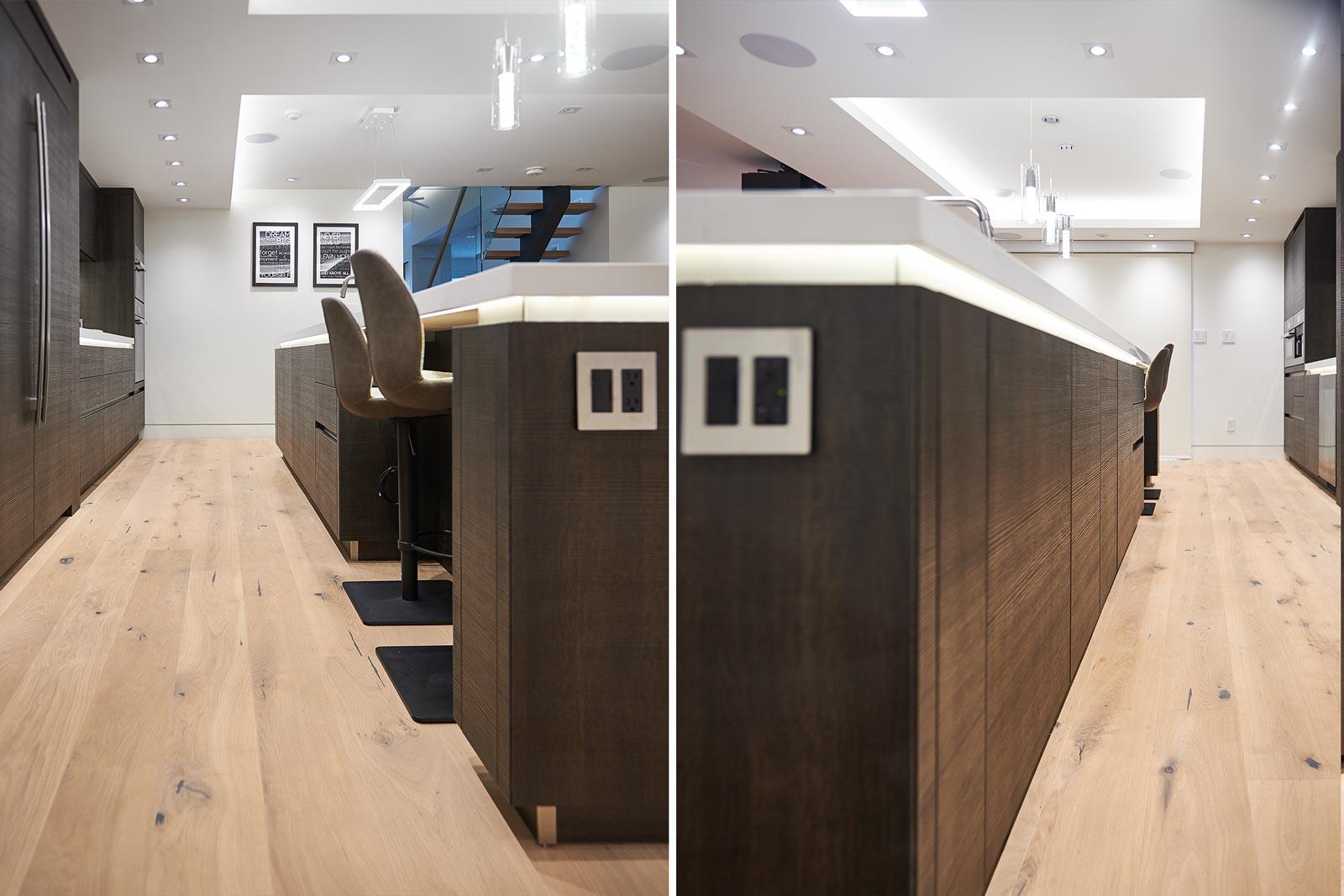 Modern minimalist dark brown kitchen arranged along one wall for modern house in Toronto