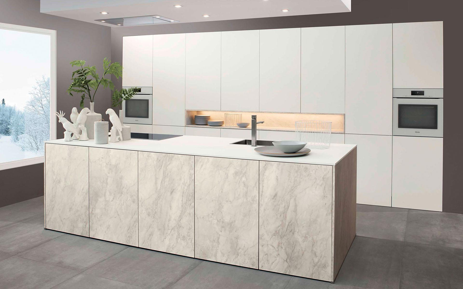 Toronto: Kitchens from Germany, Europe. Marble Marmor Bianco • Extrem Snow