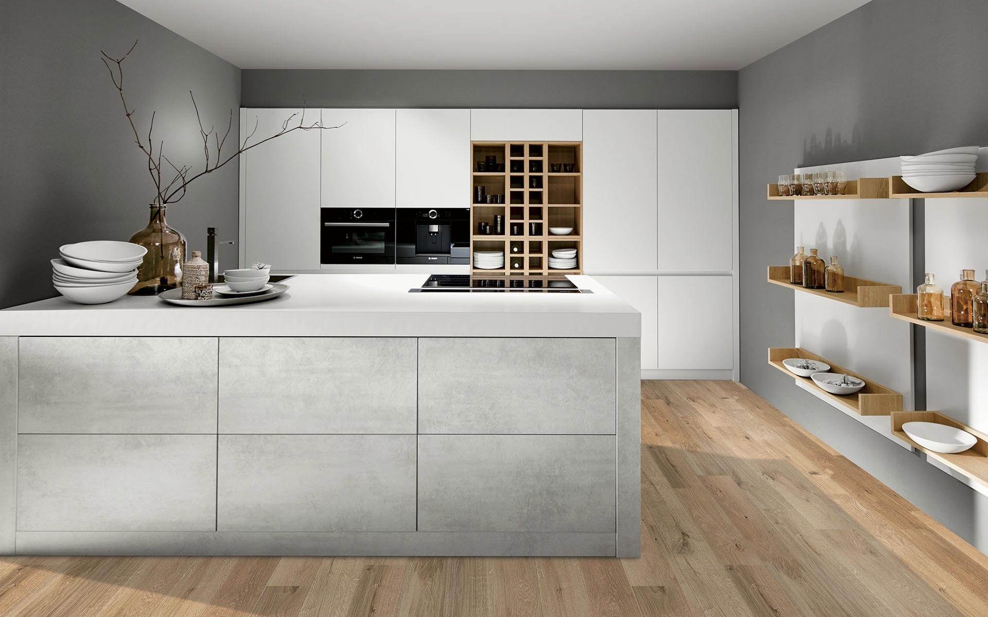Toronto: Kitchens from Germany, Europe. Extrem Optiwhite • Cemento Light Grey