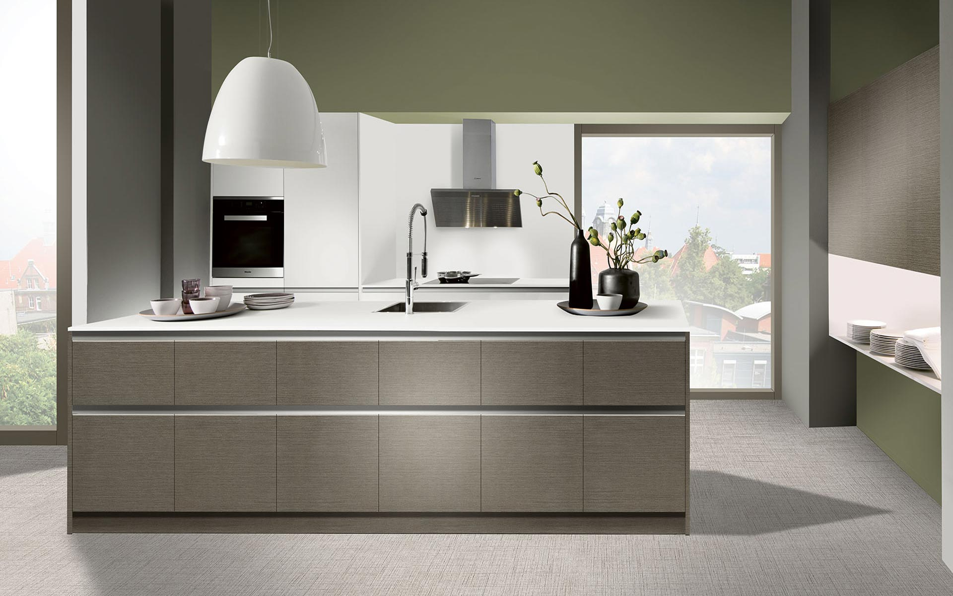 Toronto: Kitchens from Germany, Europe. Metall Umbra Hell • Touch Bianco
