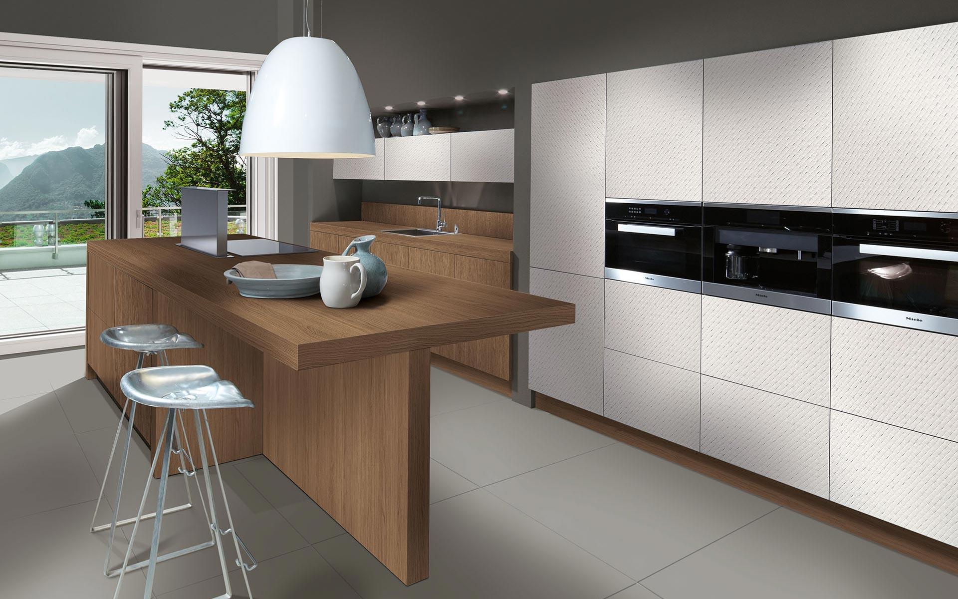 Toronto: Kitchens from Germany, Europe. Mosaico Bianco • Smart Vicenze Oak Noce