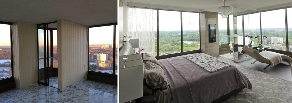 Before and after the condo renovation. The stunning view is extended with the clever use of mirrors on a partial wall, centre, that creates a private nook in the master bedroom.
