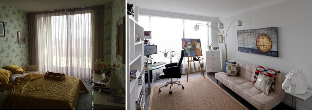The renovated room makes a bright, comfortable studio