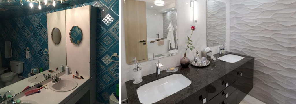 Before and after the condo renovation. Refreshed and lightened, the renovated bathroom is welcoming and spa-like.