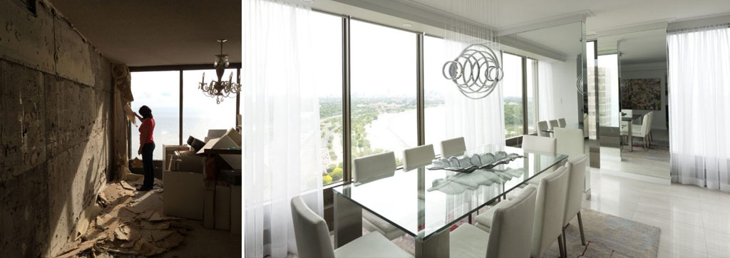 Before and after the condo renovation. The Hesses' elegant dining room
