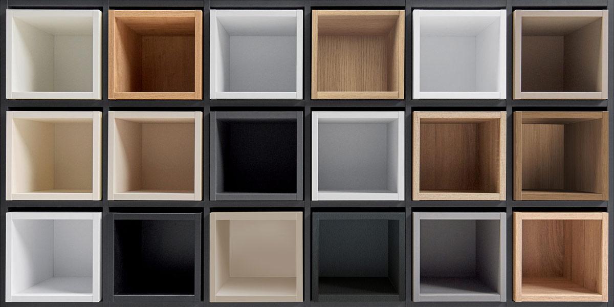 Boxes with carcase white kitchen interior colours.