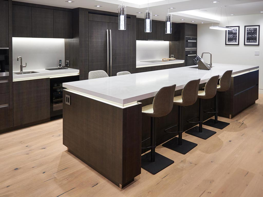 Modern minimalist dark brown kitchen arranged along one wall for modern house in Toronto