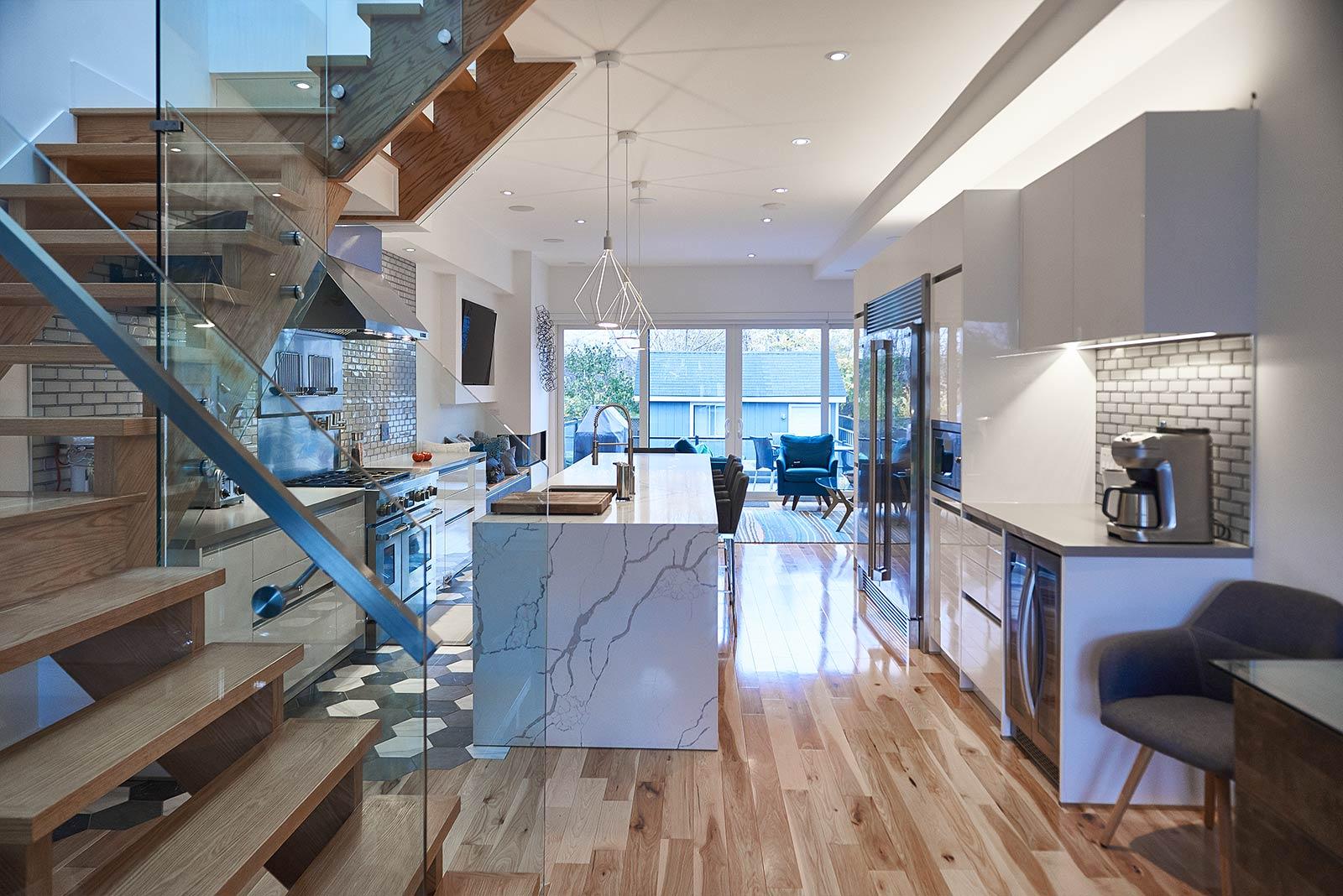 White Cabinets, Quartz Countertop, Pro Appliances for Chef Kitchen in Toronto