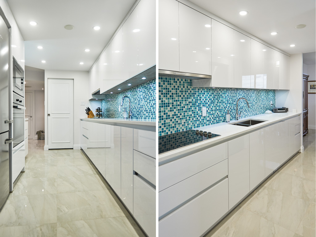 Glossy white kitchen in handleless design with turquoise tiles splash panel and Miele appliances, Toronto