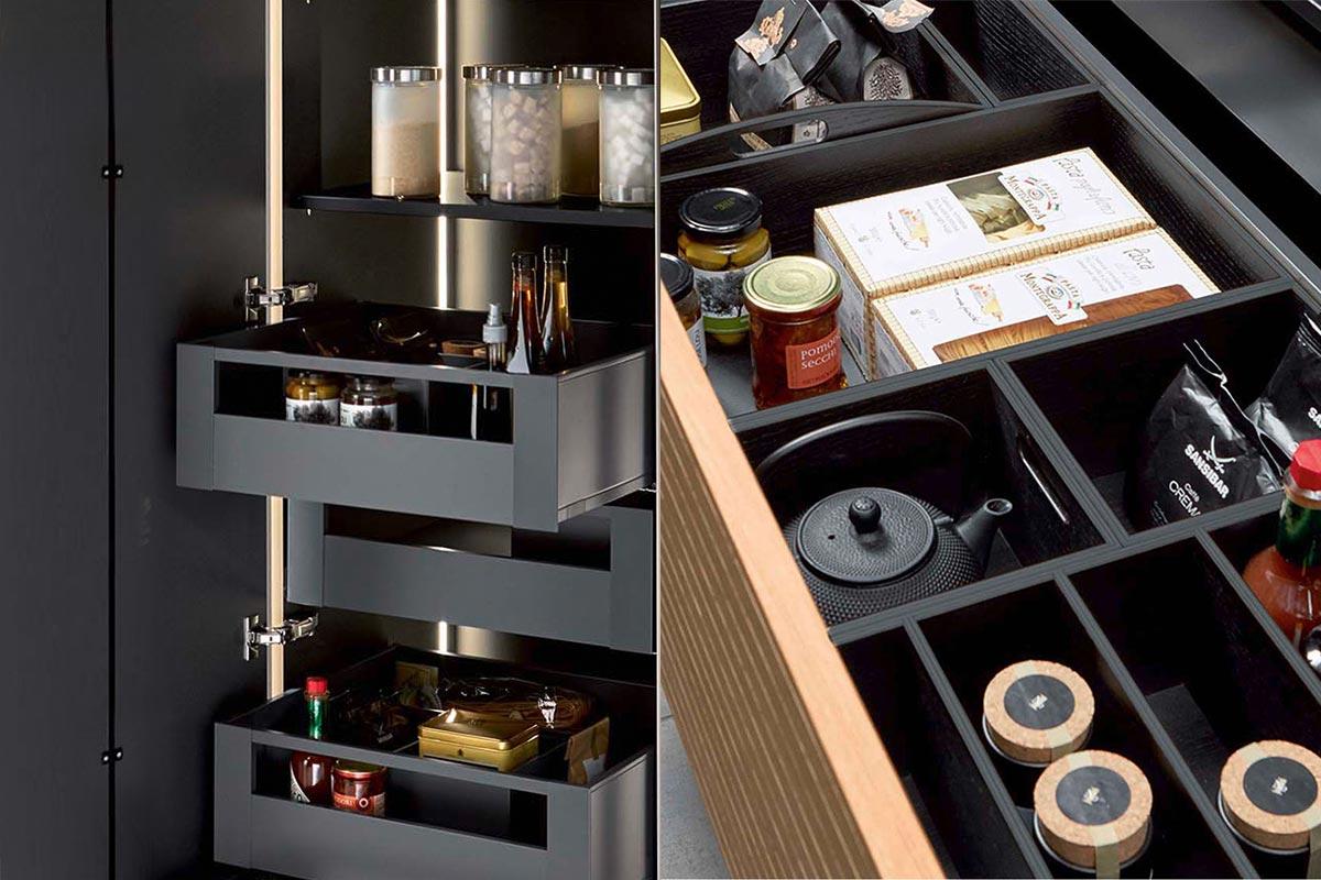 Inner organisation of kitchen cabinets