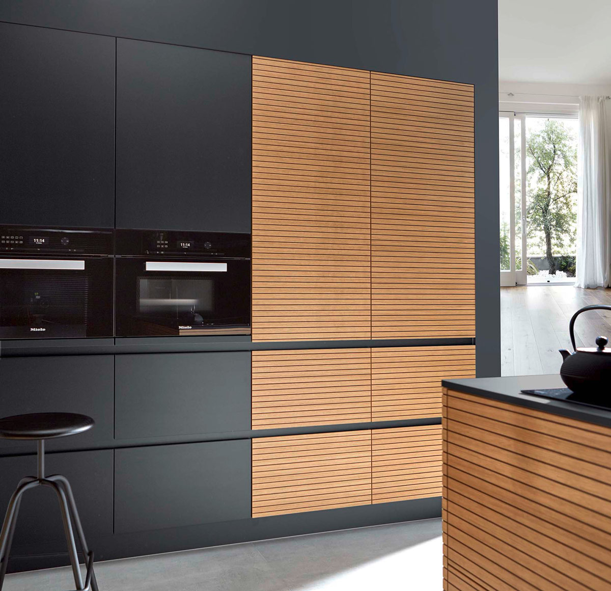 Innovative design of a handle-free kitchen cabinets