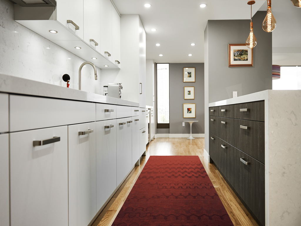 Matte lacquer white kitchen with sherwood island, Miele appliances, copper ceiling lamps and red equipment, Toronto