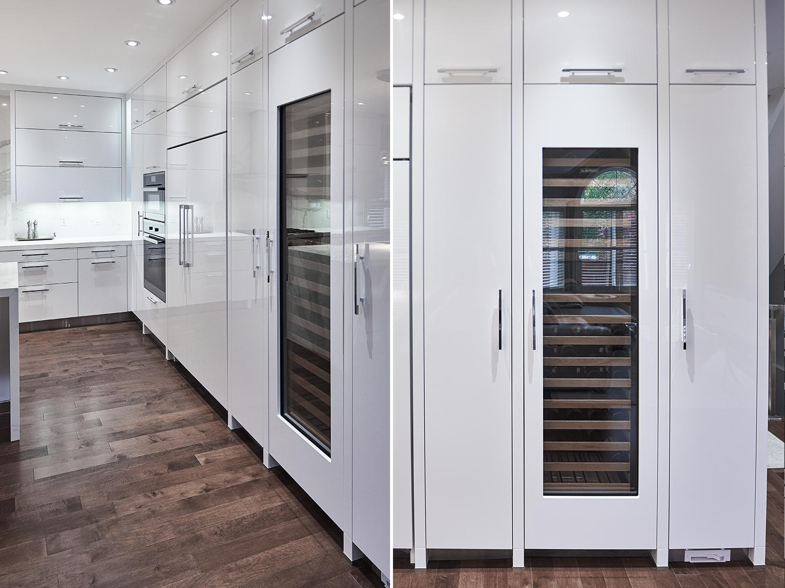 Modern white kitchen with hi-tech flap fittings in Toronto