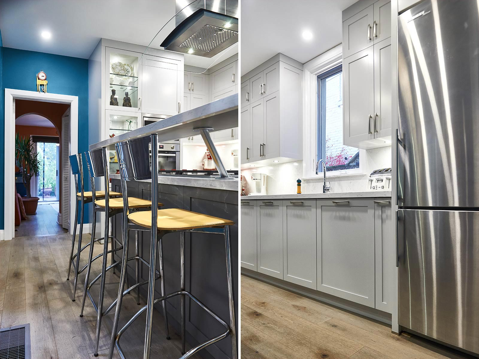 Kitchen design in Shaker style with blue walls in Victorian house. Toronto, Canada