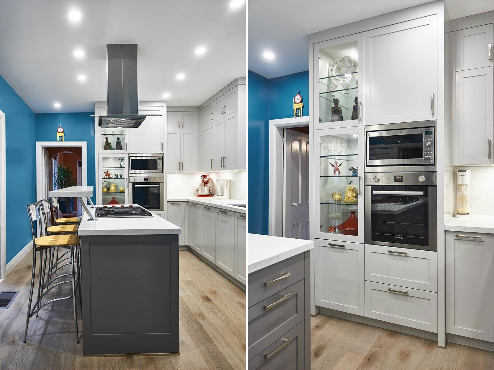 Kitchen in Shaker style with blue walls in Victorian house. Toronto, Canada